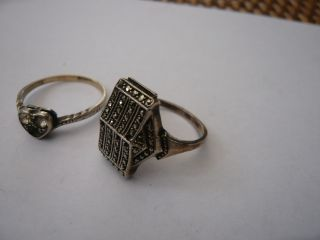 2 Vintage Antique 1930,  S Art Deco Solid Sterling 9ct Gold Silver Marcasite Rings photo