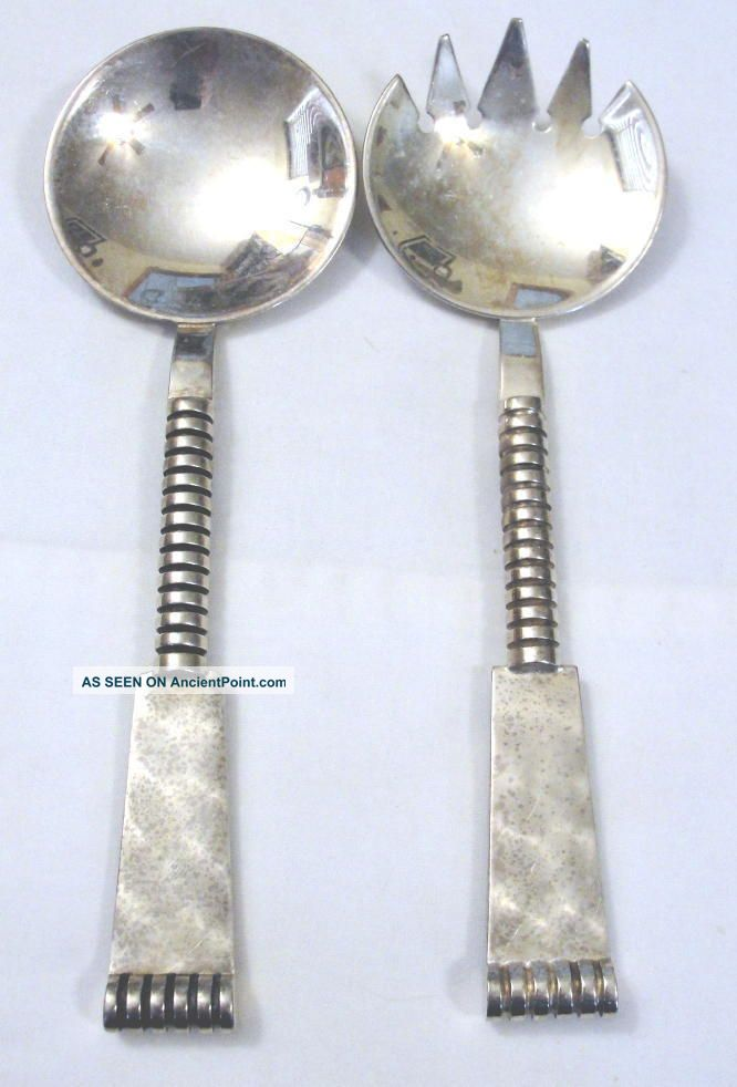 Norwegian/norway/norge/norsk Silverplate Heavy Salad Server Set 2 Piece Scandinavia photo