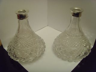 Stunning Pair Of Silver Top Ship Decanters,  1992 photo