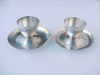 Pair (2) Sterling Sheffield England James Dixon & Sons Egg Cups W/ Saucers 1946 photo