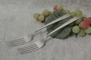 2 International Silver Wm Rogers Spring Charm Dinner Fork 1950 photo