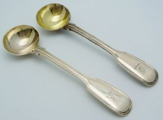 2 - English Sterling Silver 1830 Master Salt Spoons Fiddle photo