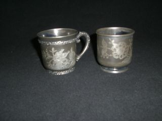 Antique Quadruple Etched Baby Cups photo