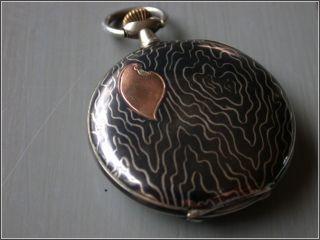 Antique Swiss Niello Pocket Watch Chronometre Invicta photo