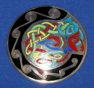 Vintage Large Irish Sterling Silver Enamel Celtic Zoomorphic Cloak Plaid Brooch photo