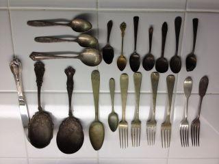 Lot Antique Vintage Silver Plate Silverware/serving Pcs Rogers Bros,  Etc 21pieces photo