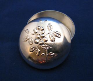 Round Floral Relief Pill Box Made By Brandimarte.  800 Silver.  925=sterling Silver photo