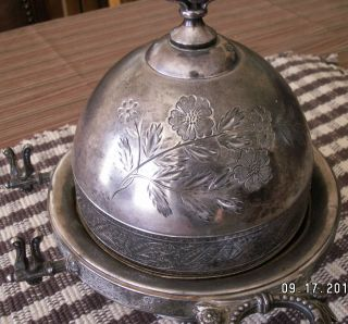Antique Meriden B Quadruple Numbered Silver Plate Covered Serving Butter Dish photo