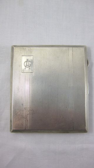 Solid Silver - - Large Cigarette Case - - Engine Turned - - Hallmarked: - Birmingham 1939 photo