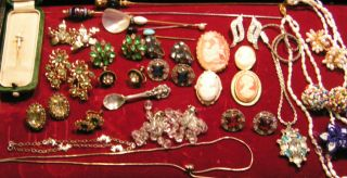 Vintage Jewelry Sterling,  Necklaces,  Pins,  Brooches,  Cameos,  Earrings +++ photo