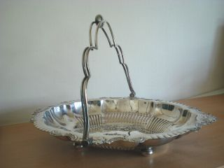 19th Century Silver Plated Swing Handle Fruit/bread Basket photo