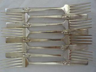 Oneida Community Morning Star Silverplate Flatware Silverware Dinner Forks Set 8 photo