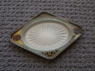 Antique Victorian Plate Epns Silver 930 Butter Dish Soap Dish With Glass Insert photo
