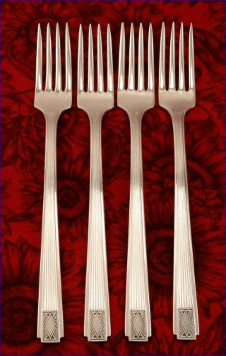 4 Noblesse Grille Style Dinner Forks Vintage 1930 Silver Plate Oneida Community photo