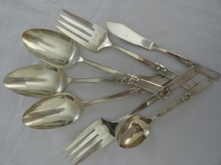 Oneida Community Plate Morning Star Silverplate Set Of Serving Forks Spoons photo