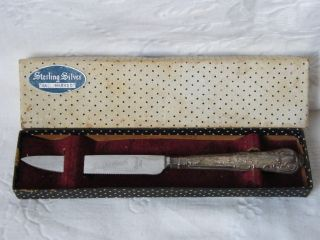 Vintage - Silver Handled Grapefruit Knife In Box - Sheffield - C1938 photo