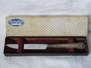 Vintage - Silver Handled Grapefruit Knife In Box - Sheffield - C1938 photo