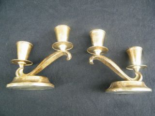 Sterling Silver 2 Candle Candelabras 2 Pieces Stamped Sterling Weighted photo