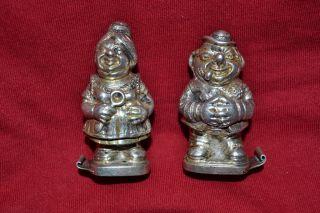 Sterling Silver Vintage German Salt & Pepper Shakers Man & Women Statues photo