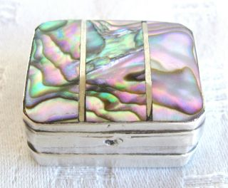 Antique Vintage Sterling Silver.  925 & Abalone Paua Shell Hinged Pill Box photo