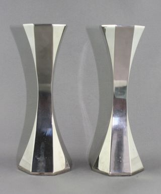 Two Vintage Art Deco Silver Plated 6 1/2 Inch Tall Candle Holders photo