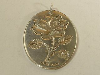 English Sterling Silver Oval Pendant With Nicely Engraved Rose photo