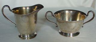 Vintage Poole Silver Silver Plate Creamer & Sugar Bowl Taunton Massachusetts photo