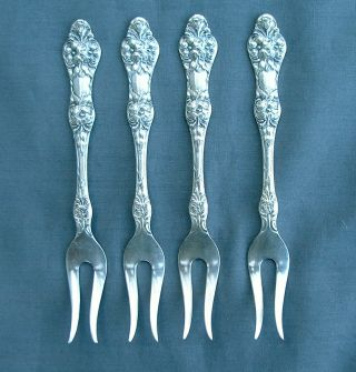 4 Th Marthinsen Norway Silverplate Berry Forks Wild Rose Pat Ex Cond No Mono photo