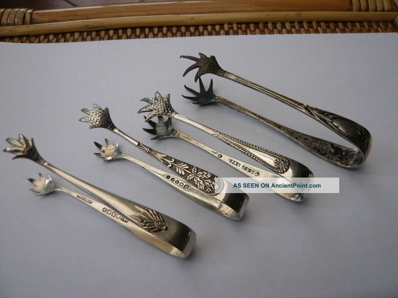 Job 4 Antique Vintage Silver Plated Claw Sugar Nip Tongs Victorian Gothic Other photo