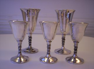 Valero (5) Silverplated Wine Goblets Made In Spain photo
