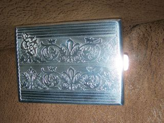 Solid Silver Cigarette Case Inscription In Polish,  Dated 1947 photo