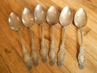 6 Pc Set Silver Plate Flatware Servings Spoons Wm Rogers 4 photo