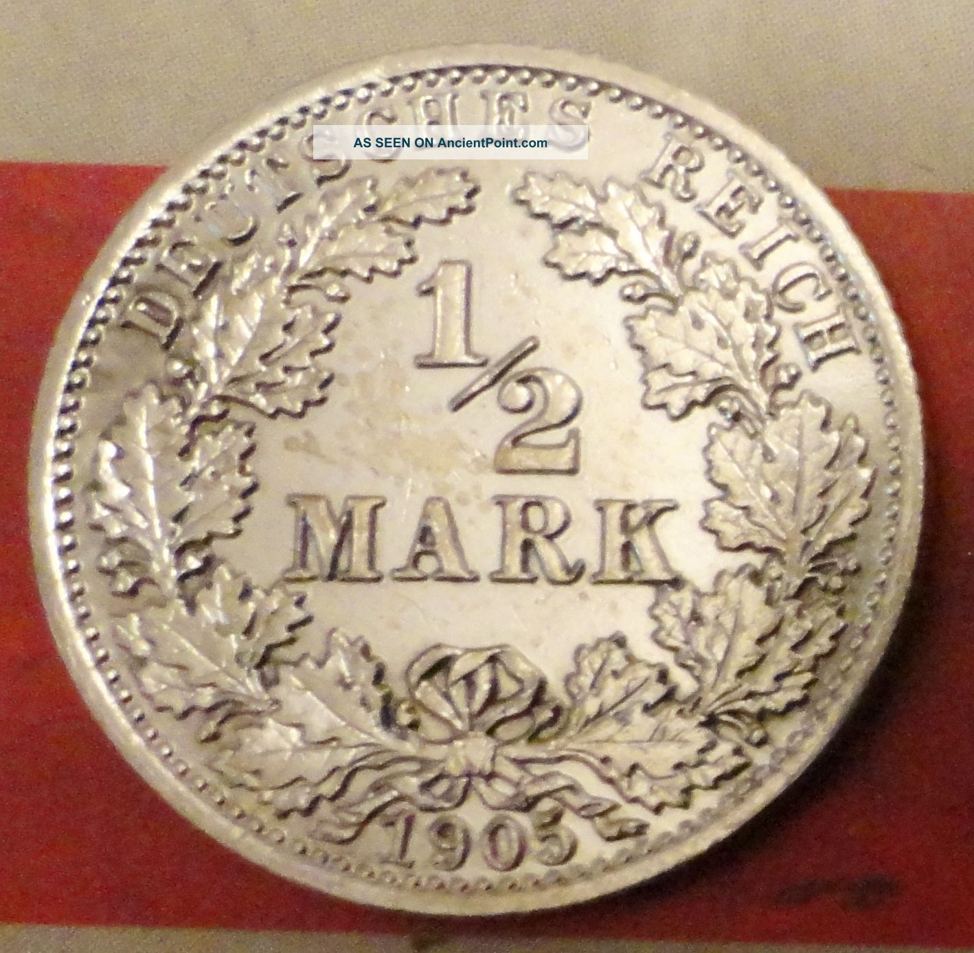 1/2 Mark 1905 A Germany Silver Coin Berlin Mint Coin Silver (.900) photo