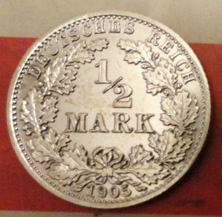 1/2 Mark 1905 A Germany Silver Coin Berlin Mint photo