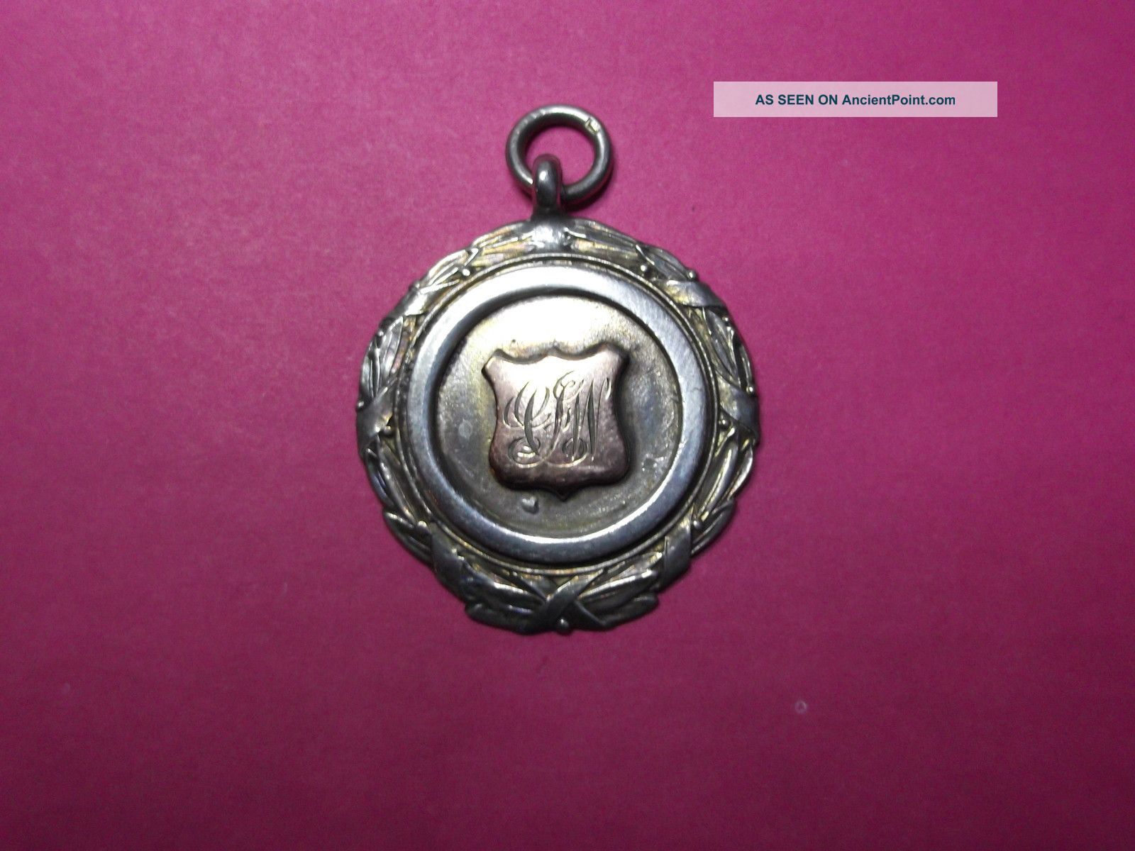 Antique Vintage Solid Silver Albert Watch Chain Fob Medal With Box Pocket Watches/ Chains/ Fobs photo