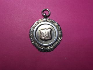 Antique Vintage Solid Silver Albert Watch Chain Fob Medal With Box photo