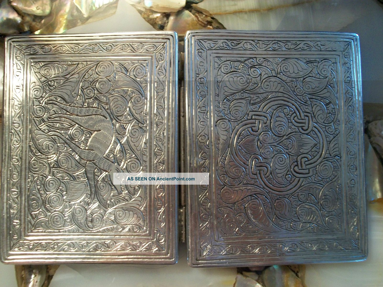 Antique Silver Otto Persian ? Egypt Islamic Hallmark Cigarette Card Case 107.  67g Middle East photo