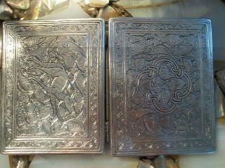 Antique Silver Otto Persian ? Egypt Islamic Hallmark Cigarette Card Case 107.  67g photo