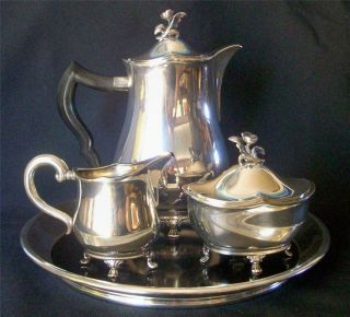 C.  H.  Hallberg Sweden Rare Complete Silverplate Tea Or Coffee Service Lovely photo