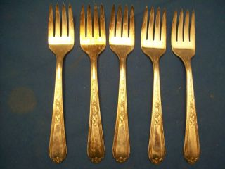 Five Vintage Plymouth Brand Silverplate Salad Forks photo