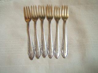 6 Wmf Pastry Forks Silverlplated Fan Pattern Art Deco photo