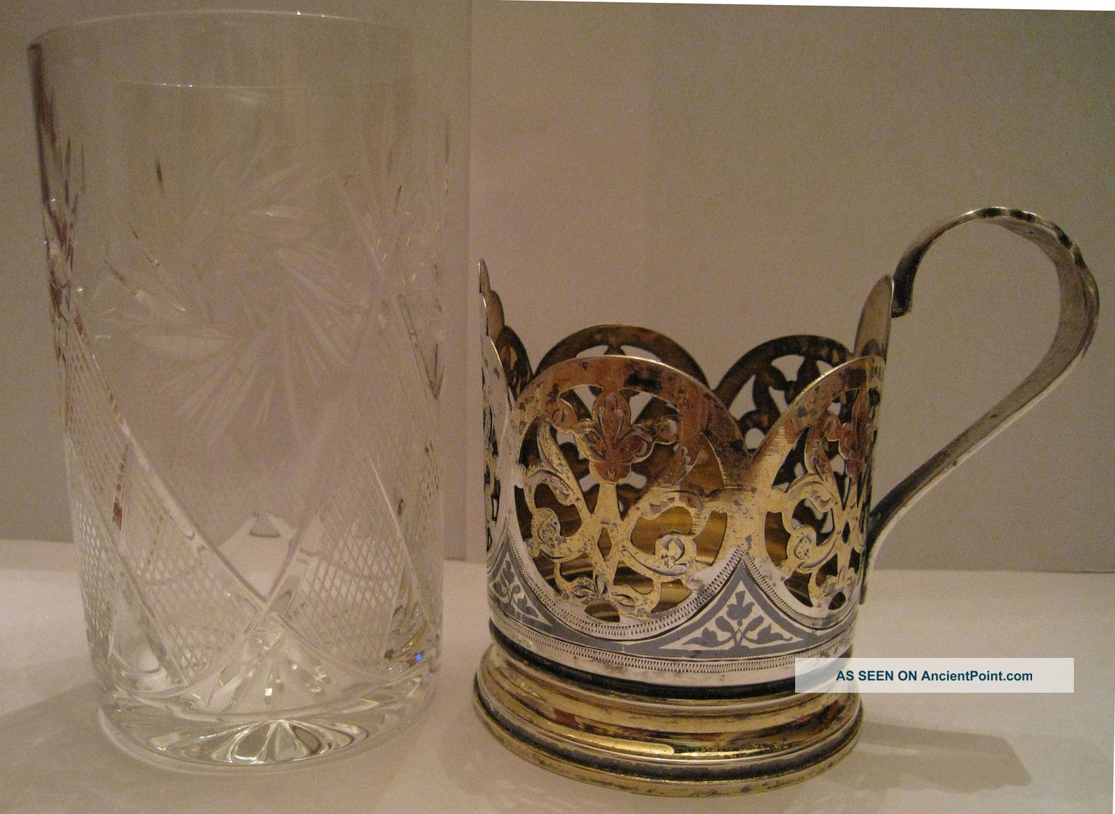 Old Russian Sterling Silver Gilded Niello Tea Cup Holder With Crystal Glass Russia photo