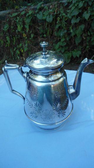 Vintage Silver Plate 1800 Tea Pot Meriden B.  Company Quadruple Plate photo