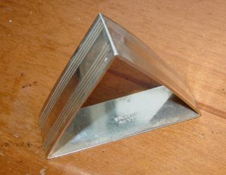 Rare Antique Triangular Solid Sterling Silver Napkin Ring photo
