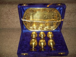 Brass Goblet And Tray Set photo