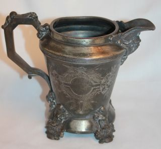 Antique Ornate Silverplate Pitcher Cream Quadruple Silver Plate Eg Webster Son photo