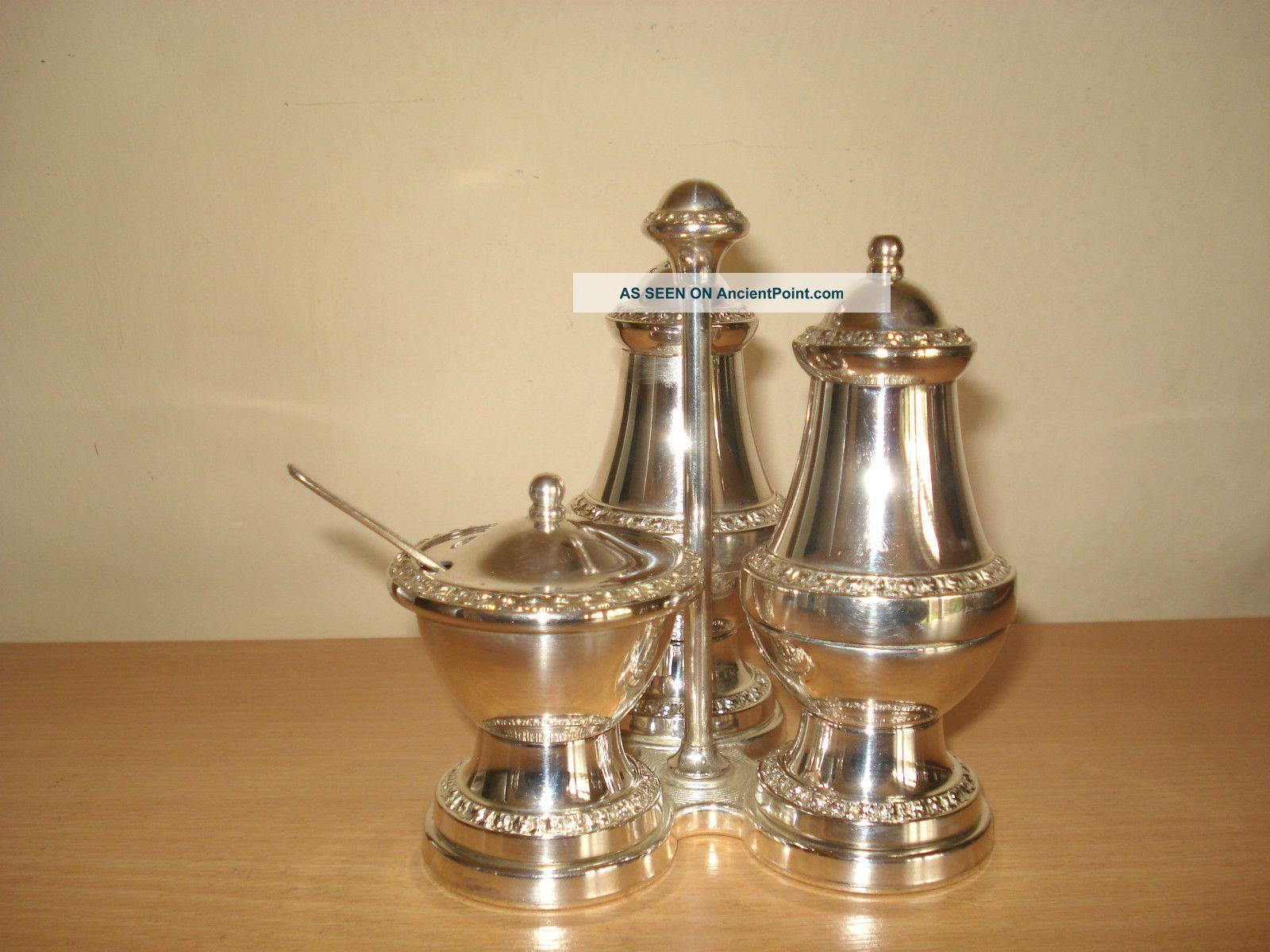 Lovely Ianthe Silver Plated Cruet Set Salt & Pepper Cellars/ Shakers photo