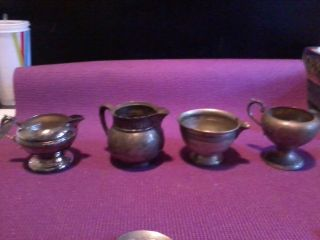 4 Assorted Silverplate Cream And Sugar Bowls photo
