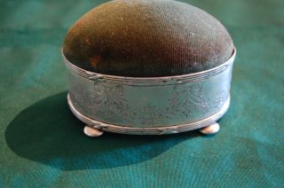 Antique English Sterling Silver Trinket Box/ Pin Cushion By Henry Matthews photo