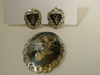 Sterling Silver & Niello Brooch And Earrings Engraved With Siamese Goddess photo